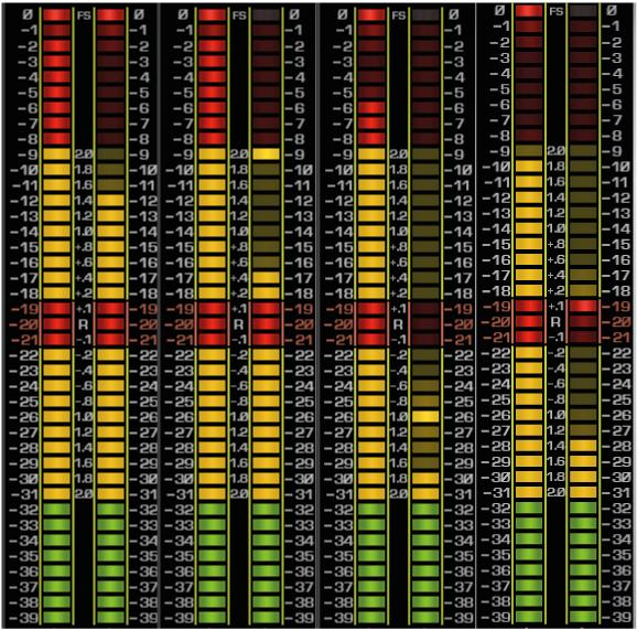 Cada par de meters representa a soma entre canais esquerdo e direito e a diferença entre esses canais, respectavimente. Da esquerda para a direita: A praça (2014) Cores e valores (2014) Vida loka II (2002) Diário de um detento (1997)
